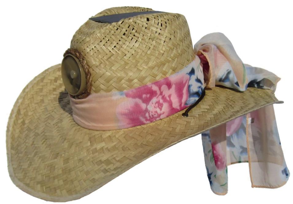 Lady's Cowboy Solar Straw Hat w/Scarf
