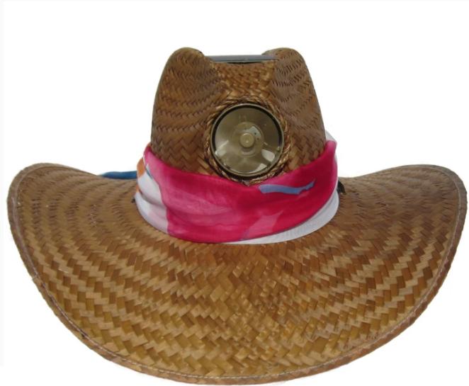 Lady's Gentlemen Brown Straw Hat w/Scarf